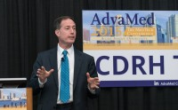 CDRH Director Jeffrey Shuren, M.D. addresses a full house during the CDRH Town Hall during the AdvaMed 2015 conference. Image courtesy of AdvaMed.