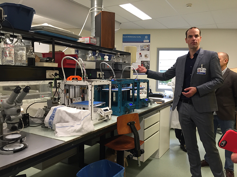 Jos Malda, Ph.D., leads the Utrecht Biofabrication Facility in the Netherlands. Students working at the state-of-the-art center are researching development methods to reinforce hydrogels to make them stronger for implantable applications.