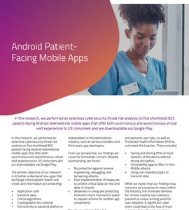 Telemedicine Cybersecurity Report: Android Patient-Facing Mobile Apps
